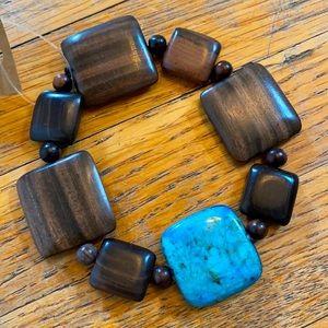 Tiger Wood & Turquoise Bracelet